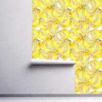 Wallpaper,Adhesive Vinyl,Tropical,Bananas,Peel&Stick,Removable,Wall Mural,Decals