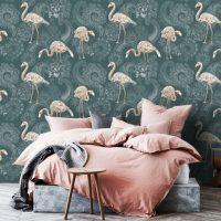 Wallpaper,Self Adhesive, Pink Flamingo,Tropical,Jungle, Green&Rose,Wall Mural