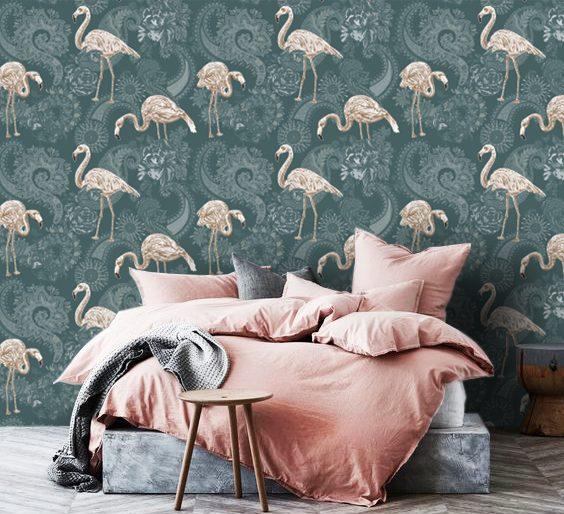 wallpaper tropical pink flamingo rose art deco murals pattern green beige self adhesive
