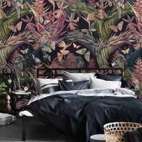 Wallpaper,Butterflies,Tropical Foliage,   Flower,Birds in the Leaves,   Wall Mural,Decals