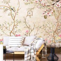 Wallpaper,Sakura,  Vintage Floral,Rose,Birds,  Self Adhesive,Vinyl,Removable
