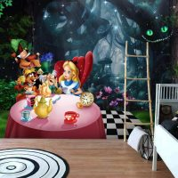 Wallpaper,Little Alice in Wonderland, Nursery,Pink Flamingo, Wall Mural,Adhesive Vinyl