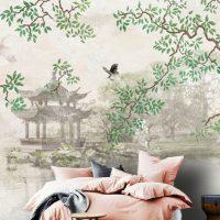 Wallpaper,Japan,Sakura,Vintage,   Floral,Birds,Peel&Stick,  Wall Mural,Declas