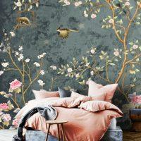 Wallpaper,Gray&Green,Sakura, Vintage Floral,Birds,   Adhesive Vinyl,Wall Mural