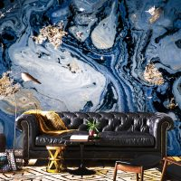 Wallpaper,Abstract Ink,Gold&Dark Blue,Sapphirine Sequins,Removable,Decals,Luxury,Adhesive Vinyl,Peel and Stick