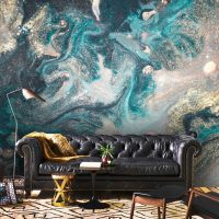 Wallpaper,Adhesive Vinyl,Sparkles,Peel&Stick,Oriental,Turquoise,Blue,Gold Sequins,Glitter,Abstract Luxury,Removable,Decals,Wall Mural