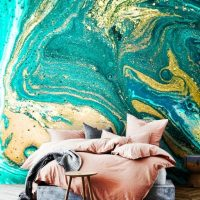 Wallpaper,Abstract Ink,Adhesive Vinyl,Emerald color,Decals,Gold&Green Sequins,Removable,Peel and Stick,sparkle,Oriental