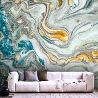 Wallpaper,Ink,Gold&Turquoise,   Abstract,Sequins,   Removable,Vinyl,Wall mural
