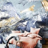 Wallpaper,Adhesive Vinyl,Peel&Stick,Oriental,Blue,Gold Sequins,Removable,Abstract Luxury,Sparkles,Decals,Wall Mural