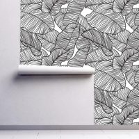 Wallpaper,Graphics,Tropical Folliage,   Black&White,Adhesive Vinyl,Jungle,   Leaves,Wall Mural,Peel&Stick