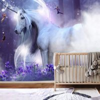 Wallpaper,Unicorn with Elves,   Magical Nursery,Decals,    Self Adhesive,Vinyl