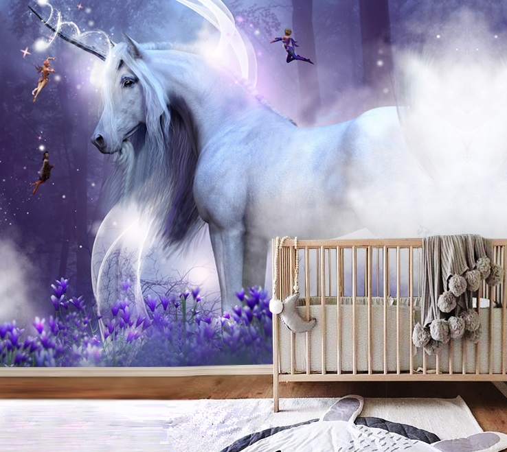 Wallpaper Unicorn With Elves Magical Nursery Decals Self Adhesive Vinyl