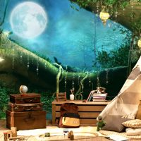 Wallpaper,Nursery, Full Moon in the Magical Forest, Vinyl,Self Adhesive