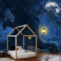 Wallpaper,Magical Forest,  Full moon,Nursery,Magic Tree,  Self Adhesive,Vinyl,Removable