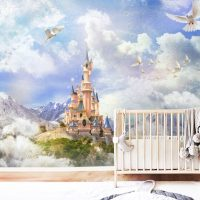 Wallpaper,Magical Castle,Nursery,   Dove in the Sky,Adhesive Vinyl,  Peel&Stick,Wall mural