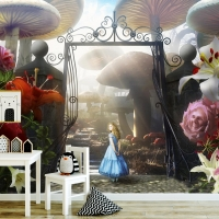 Wallpaper,Alice in Wonderland,  Nursery,Magic Gate,  Wall Mural,Adhesive Vinyl