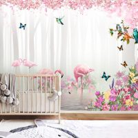 Wallpaper,Farytale Forest, Pink Flamingo,Nursery, Peel and Stick,Vinyl
