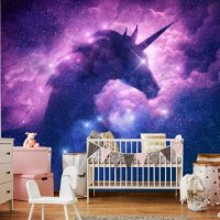 Wallpaper,Unicorn in the Clouds,   Nursery,Decals,Self Adhesive,  Vinyl,Wall mural