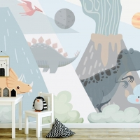 Wallpaper,Dinosaurs with Volcano, Adhesive Vinyl,Nursery, Peel&Stick,Non,Toxic,Removable