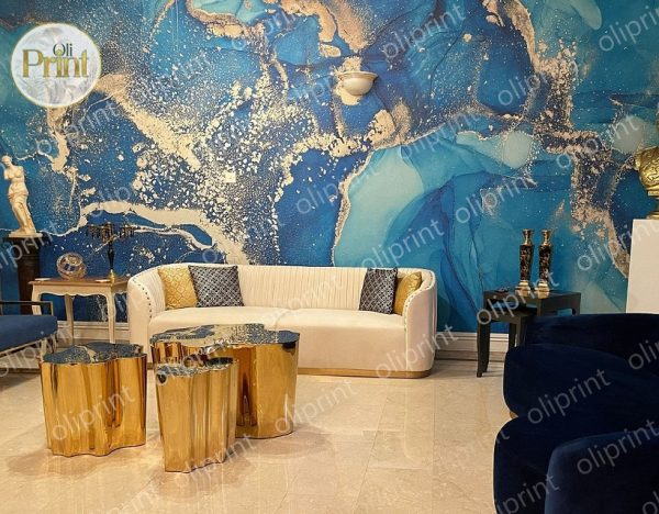wallpaper wall mural marble blue gold abstract oliprint-art lux decor