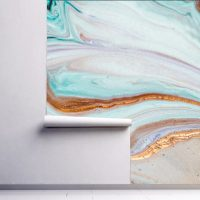 Wallpaper,Waves,Gold&Turquoise,   Sparkles,Abstract,  Vinyl,Peel and Stick