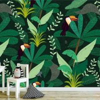 Wallpaper,Tropical,Botanical    Jungle forest,Hornbills bird,   pattern,Self Adhesive