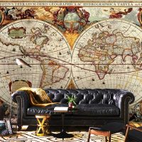 Wallpaper,Treasure World Map,Antique,    Peel&Stick,Removable,Wall Mural,   Adhesive Vinyl,Design Decals