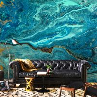 Wallpaper Abstract, Sea, Glitter,    Sparkles,Gold&Blue,Water,Marbling,    Removable,Peel&Stick,Wall Mural