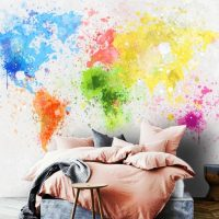 Wallpaper,World Map Multi-Colored,   Peel&Stick,Wall Mural,   Adhesive Vinyl,Design Decals
