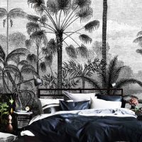 Wallpaper Tropical Garden,    Graphic,Black&White,Vinyl,    Peel and Stick or Vinyl material