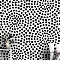 Wallpaper Circles of Dots,Graphics      Black and White,Design,    Self Adhesive or Vinyl