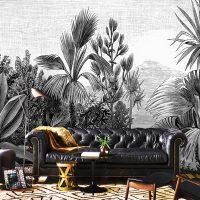 Wallpaper Tropical Design,      Palm Trees,Graphic,Black&White,      Self Adhesive or Vinyl