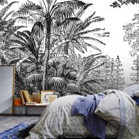 Wallpaper Tropical,Palm Trees,    Forest,Graphic,Black&White,     Vinyl or Self Adhesive