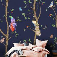 Wallpaper Spring Garden,      Birds, Peacock, Parrot,     Vinyl or Self Adhesive