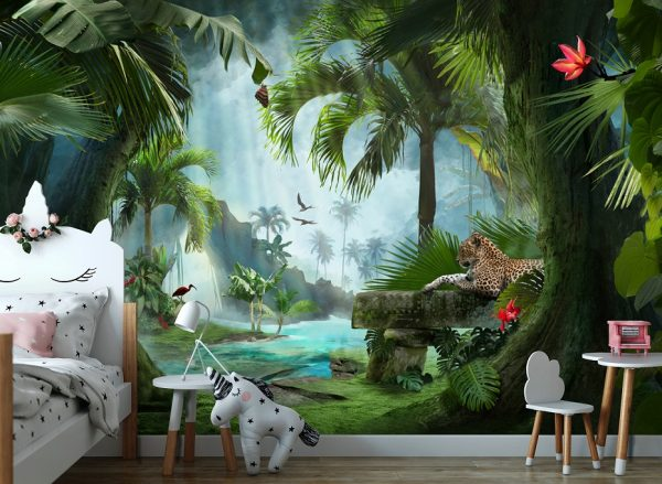 wallpaper nursery wall mural t tropical forest ropical decor tropic wall peel and stick removable