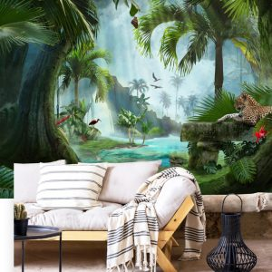 wallpaper wall mural tropical decor tropic wall peel and stick tiger removable