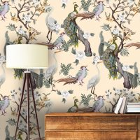 Wallpaper Flower Garden with Birds,     Vintage,Japan,Beige&Green,    Vinyl or Self Adhesive