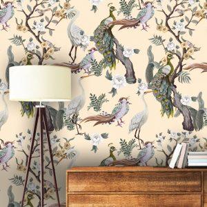 wallpaper wall mural chinoiserie beige green japain birds sakura blossom