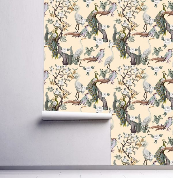 wallpaper wall mural chinoiserie beige green japain birds sakura self adhesive peel and stick