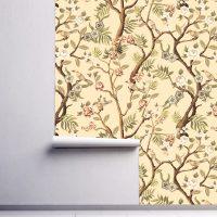 Wallpaper Self Adhesive or Vinyl,    Japan Garden,     Vintage,Flower in Beige