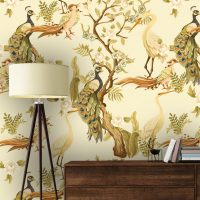 Wallpaper,Flower Garden with Birds,      Vintage,Japan,Beige&Yellow,    Vinyl or Self Adhesive