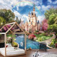 Wallpaper Magical Castle,    Princess Palace,Fairytale,Nursery,       Vinyl or Self Adhesive