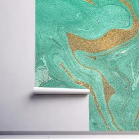 Wallpaper,Abstract Mint Green     with Gold Sparkles,   Self Adhesive or Vinyl with Glitter