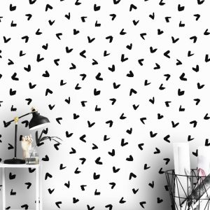 wallpaper mural heart oliprint art peel and stick blach and white