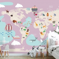 Wallpaper World Map with Animals in Pink,      Nursery,Air Balloon    Self Adhesive or Vinyl