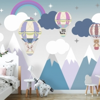 Wallpaper Nursery,Animals on Air Balloons,  Mountains,Blue with Purple color,   Self Adhesive or Vinyl