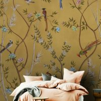 Wallpaper Blooming garden with  Birds,     Ocher Color,     Vinyl or Self Adhesive
