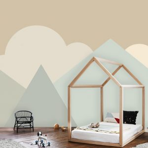 wallpaper mural nursery beige oliprint art