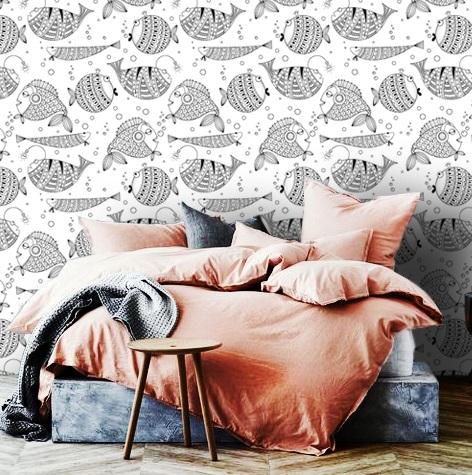 wallpaper wall mural fish art graphic black and white nursery oliprint art