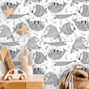wallpaper oliprint art decals wall mural fish art graphic black and white nursery